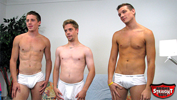 Three straight boys suck each other off for cash.