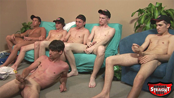 It's history making time at Broke Straight Boys today. In the studio are six very broke boys; Rocco, Bobby, Darren, Jeremy, Brody and Josh. They are to do something never seen on BSB before, bukkake. If you are not sure what bukkake is, then make sure you watch to the very end of this extra special update.