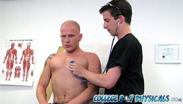 College boy Luke gets an oral exam by his doctor.
